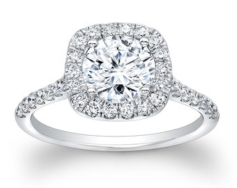 Ladies Platinum vintage diamond engagement ring with cushion top 0.40 ctw G-VS2 diamonds and 1ct round white sapphire