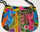 Small purse accessory hand painted silk, unique gift under 50 woman mom, Picasso designer painting, one of a kind, artisan made