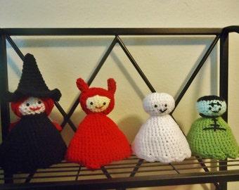 Handmade Crochet Witch, Devil, Ghost, and Frankenstein's Monster Decorational Dolls