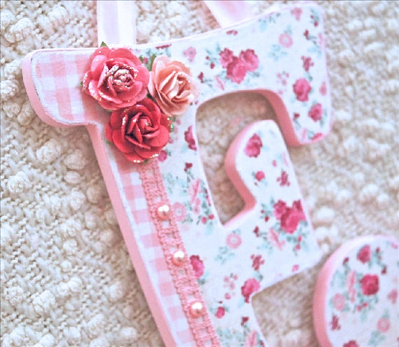 Custom nursery letters baby name wooden wall by theruggedpearl for Baby name letters decoration
