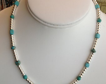 Turquoise Necklace with Sterling Silver Tubes
