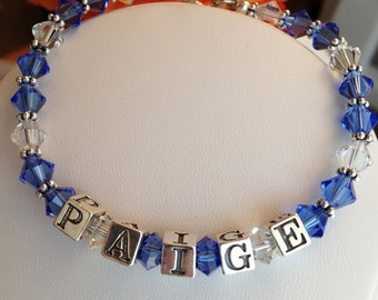 Royal Blue and Clear Swarvoski and Sterling SIlver Name Bracelet.