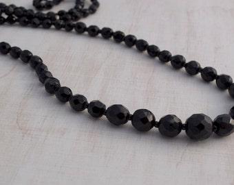 Vintage Faceted Black Glass Bead Necklace