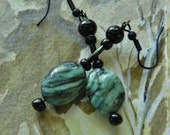 Malachite Jasper Green/ Black glass beads/ Black colored ear wires