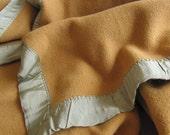 Vintage Large Wool Golden Mustard Yellow Ochre Blanket