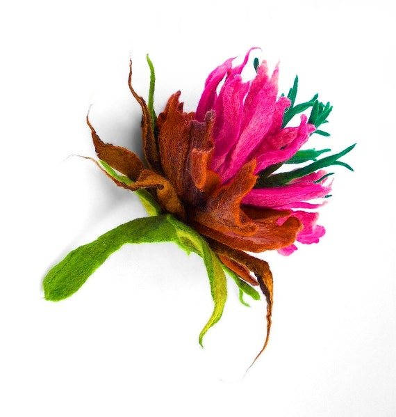 Felted Brooch Felted flower nunofelt Nuno felt Silk Silkyfelted Eco handmade pink green fairy multicolor floral fantasy Fiber Art boho