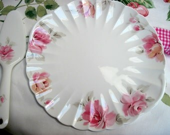 Cake Plate and Server, Nikko, Bone China, Pink Roses