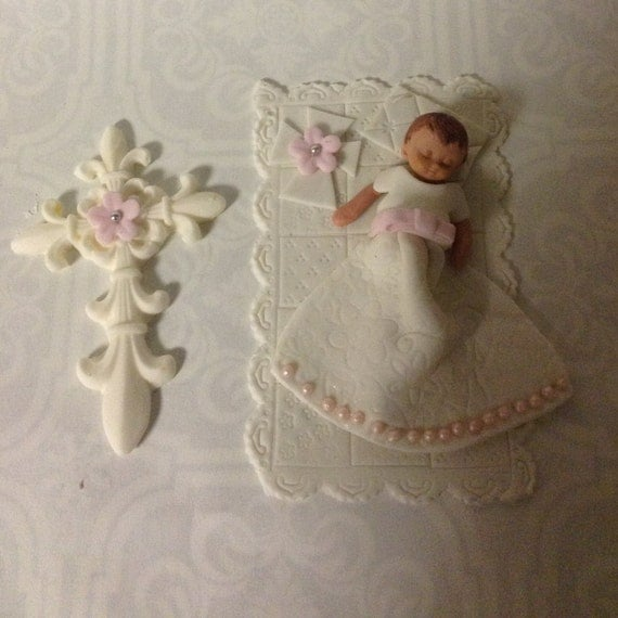 Cake Toppers For Baby Girl Christening : Items similar to CHRISTENING CAKE TOPPER Baby Girl Cross ...