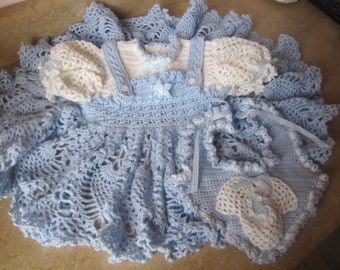 Little Blue and White Dress with Bib