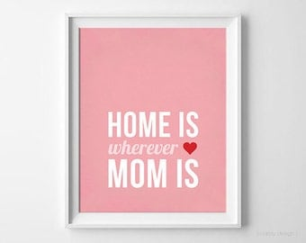 Mother's Day Wall Art Printable Typography Print Digital Print DIY Poster Pink Mom Instant Download Home is Wherever Mom is Print