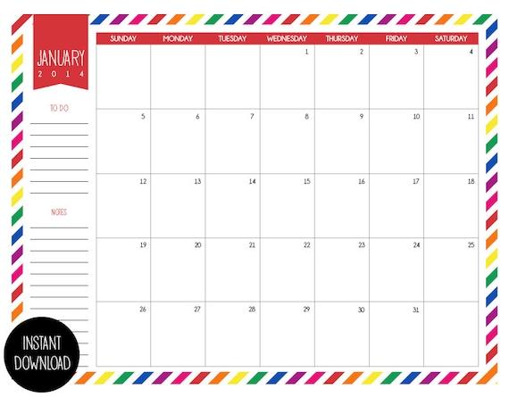 Printable Calendar 2014 Monthy School Planner by MarleyDesign