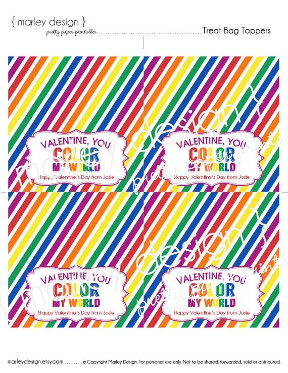 Kinder Garden: You Color My World Valentine's Day Printable By MarleyDesign