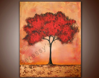 """Fine Art Print by Alexandra H. Beressy, """"Autumn Tree"""" Original Abstract Painting print 8""""x11"""" (signed and numbered by the artist.)"""