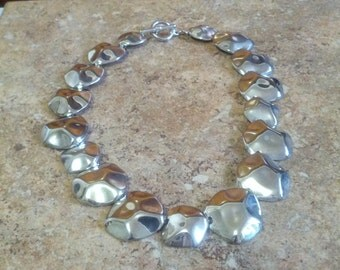 Beautiful Silver tone metal Choker style necklace