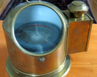 1978 Brass Ship's Compass with Attached Oil Lamp