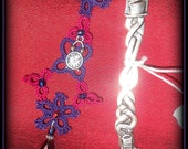 Purple and Dark Red Bookmark in Tatting - Alice