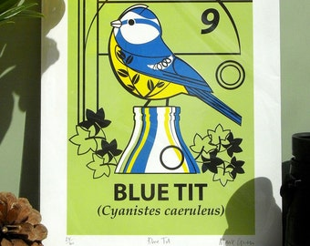 Small Limited Edition Blue Tit  (Cyanistes caeruleus) Giclée Print