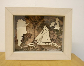3D handmade paper sculpture Personalised Wedding Gift Sailing boat and map