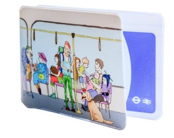 Oyster Card Holder - Passengers on the tube. Travel Card Holder. Card Wallet. Oyster card. Ticket holder. London