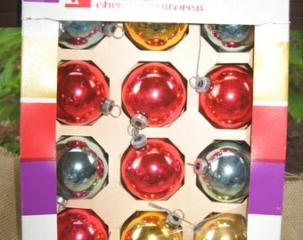 Woolworth Woolco 12 Glass Tree Ornaments in Box Vintage Shiny Balls
