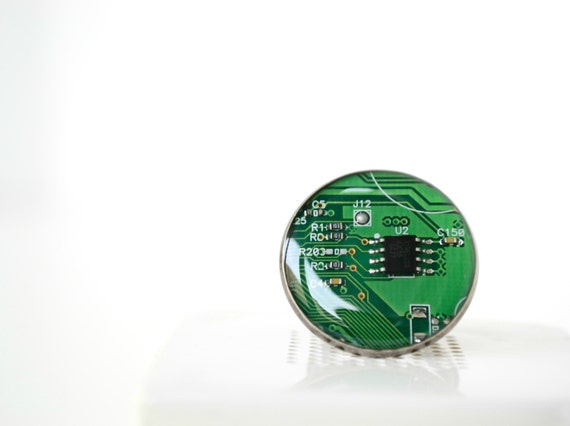 Geekery Ring - Unique Steampunk Ring - Cyberpunk - Adjustable - Green