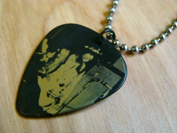 jimi hendrix guitar pick necklace with stainless steel ball. Black Bedroom Furniture Sets. Home Design Ideas