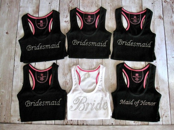 Maid Of Honor Gifts From Bride: Items Similar To 6 Bride Bridesmaid Tank Tops. Bride