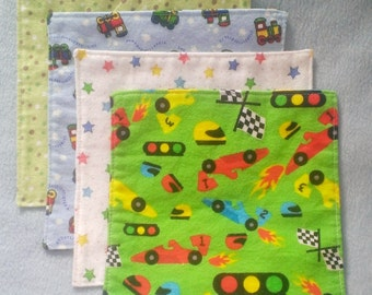 Set of 4 Baby Wash Cloths, Reusable Diaper Wipes, Cloth Diaper Wipes in Boy Prints ***READY TO SHIP***