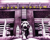 "LSU Tiger Stadium (purple w/ gold letters)- Tiger statue- college football- watercolor art print- 11"" x 14""- FREE SHIPPING"