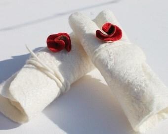 White cuffs felted on silk, wedding Gauntlets