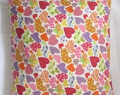 "14 x 14"" pillow cover with hearts. love pillow. decorative bedroom throw pillow. red and pink."