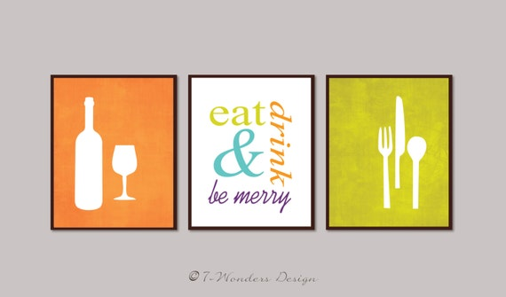 modern kitchen art print set eat drink and be by wondersdesign,Modern Kitchen Art,Kitchen ideas