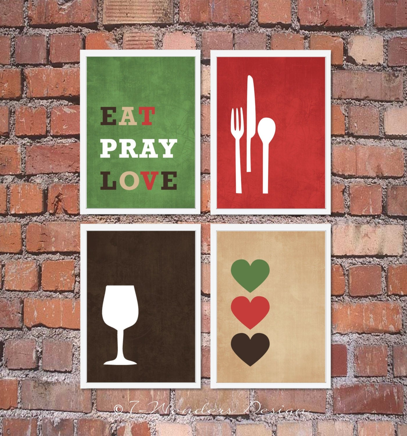 Modern kitchen wall art print set inspirational eat pray for Art prints for kitchen wall