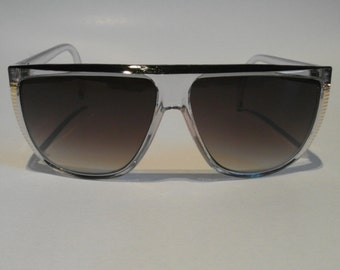 Vintage Clear and Black and Gold D-frame Sunglasses