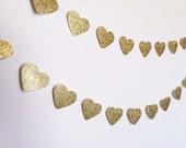 Gold Glitter Heart Paper Garland