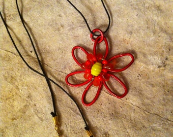 Summer Blossom: Red Wire with Orange/Yellow Beads Pendant necklace