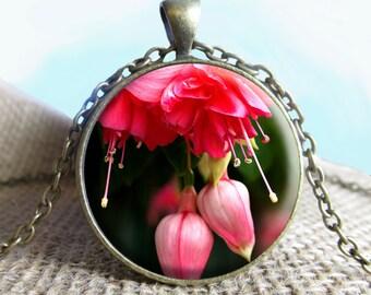 Fuscia Blossoms Pendant/Necklace Jewelry, Flower Necklace Jewelry, Flower Photo Jewelry Glass Pendant Gift