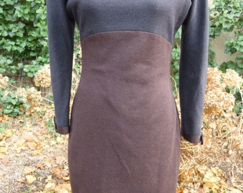 1980's Dress Bodycon Form Fitting Dress Minamilist Evening Dress Black Brown Wool 80's Dress by Laura Marolakos  SAKS Fifth Avenue Size 10