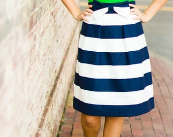 Woman's Structured Navy and White Striped Bow A-Line Knee-Length Skirt