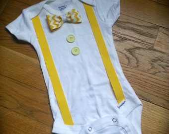 Tuxedo inspired Onesie Complete with suspenders, a bow tie and buttons