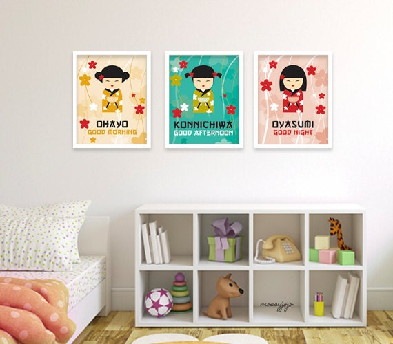 Nursery Art For Children Kids Wall Art Baby Girl Nursery Baby: Japanese Kokeshi Doll Japan Baby Girl Nursery Art By MossyJojo