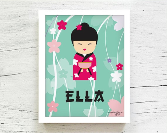 Baby Gifts For Japanese : Items similar to japanese kokeshi doll personalized baby