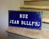 """RESERVED for Kathleen French antique blue street sign enamelled plate - grand size 12"""" x 24"""""""