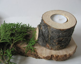 Four pine wood candle holders. Rustic wedding tree log tea lights.