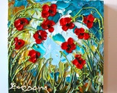 Inside Looking Out, Poppies, Mini floral series, Bright, cheerful and compact, 8x8 - Item #46