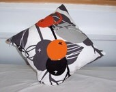 Decorative Pillow Throw - Throw Pillow - Cushion Cover - In an attracive Orange, Black and Grey 'fruity' design on a white background.