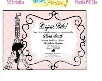 paris baby shower printable set b anner invitation cupcake toppers