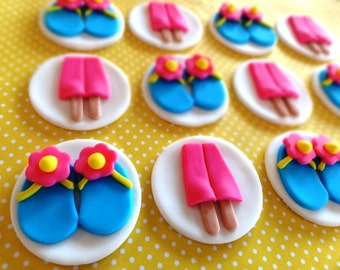 12 Fondant Pool/Beach Party, fondant flip flop, fondatn ice cream, fondant popsicle, pool party, summer party, birthday party, flower power