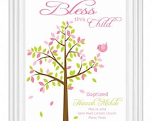 Baptism Gift -Christening Gift - Personalized Wall Print for Nursery -Custom Name Print Bird Baby Wall Art Sign