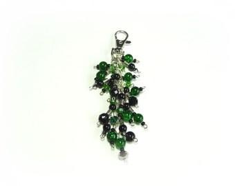 Green & black Keychain/keyring or bag/purse Charm